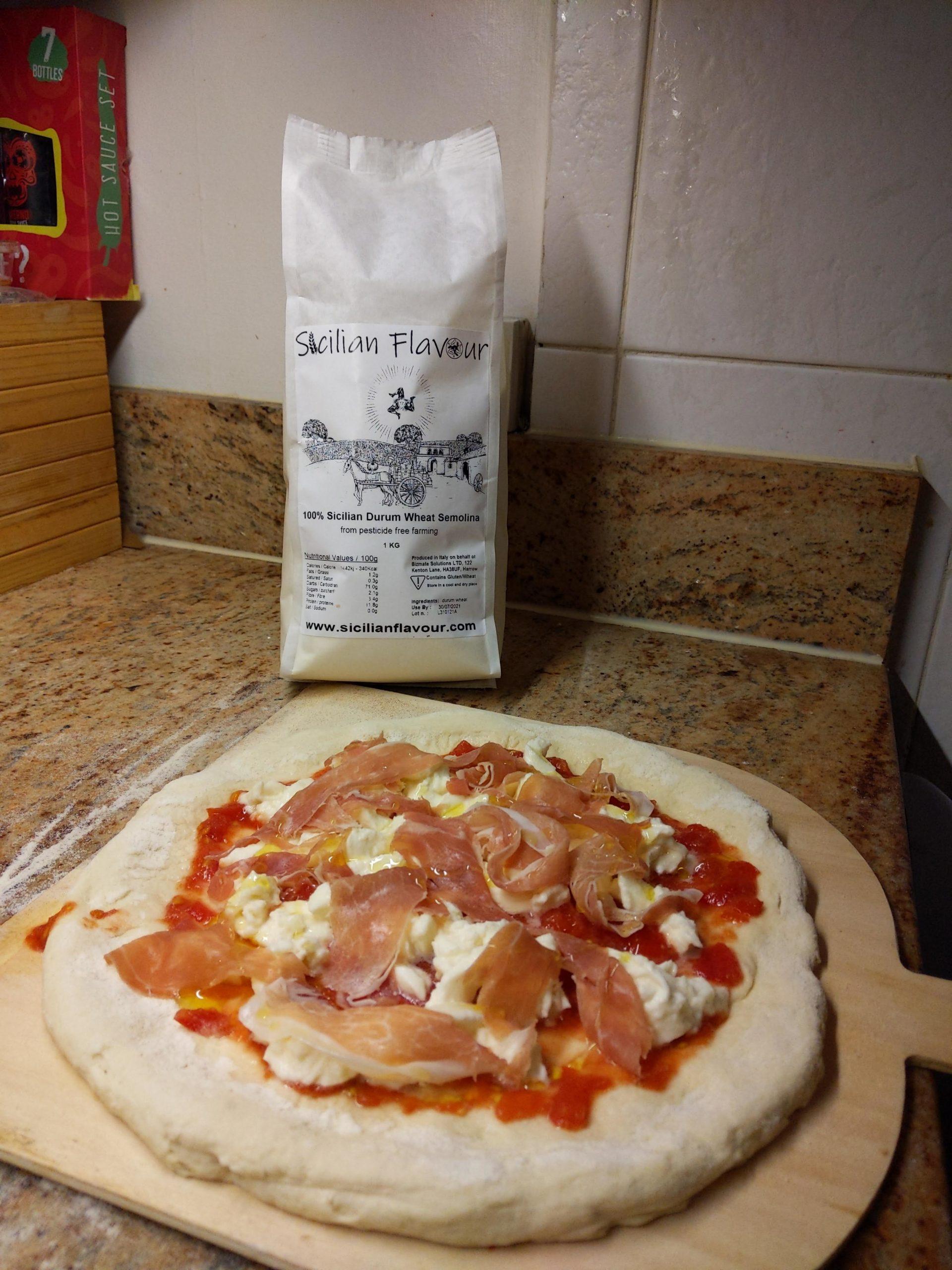 Sicilian Flavour prosciutto crudo pizza ready for baking